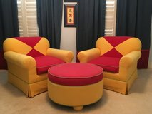 Oversized, Upholstered Chairs and Ottoman in Greenville, North Carolina