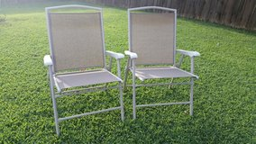 Iron / Tan / 2 Piece Folding Lawn Patio Chair Set in Clarksville, Tennessee