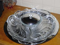 serving dishes on silver lazy susan in Glendale Heights, Illinois