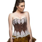 Brown Satin White Sequined Overbust Corset NS-1298 in Fort Meade, Maryland