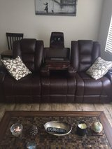 Chocolate leather couch and recliner in Temecula, California
