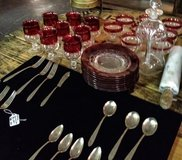 Ruby red wine glasses and plate set in Dover, Tennessee
