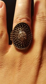 Brass ring with inner circle of rhinestones in Gilroy, California