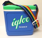 1970s igloo tagalong cooler with rainbow strap in Beaufort, South Carolina