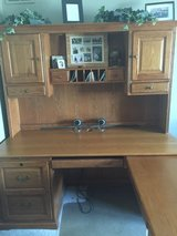 Solid wood computer Desk with hutch and return in Chicago, Illinois