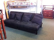 Black Microfiber Clic Clac Couch / Bed With Storage & Throw Pillows in Fort Polk, Louisiana