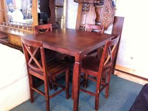 Solid Wood Pub Bar Height Table and Chairs in Fort Polk, Louisiana
