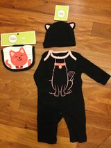 "NEW - Baby Girl's ""Kitty"" Outfit with matching bib and hat in Yorkville, Illinois"