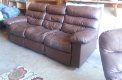Set of Brown Genuine Leather Couches - Used - Good condition in San Antonio, Texas