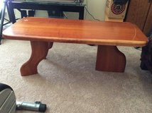 solid wood table in great condition for $30, with free dark table and decor in Lawton, Oklahoma