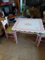 Girls solid wood pink table + 2 chairs in Joliet, Illinois