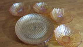 Orange carnival glass bowls / and accent plates in Beaufort, South Carolina