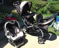 Baby Trend Two Person Stroller w/ Baby Trend Rearfacing Car seat w/ base. in Kansas City, Missouri