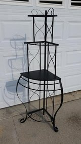 Black / Iron / Wood Corner Bakers Rack in Fort Campbell, Kentucky
