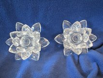 Sorelle Crystal-Pair of Lotus Flower Candle Holders-New in Box in Beaufort, South Carolina