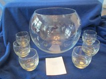 Princess House handblown Crystal Punch Bowl + 12 Crystal cups. New in box in Beaufort, South Carolina