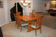 7 piece solid oak dining table and chairs. in Fort Lewis, Washington
