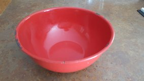 Large red enamel mixing bowl in Plainfield, Illinois