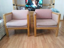 2 solid oak chairs with upholstery in Alamogordo, New Mexico