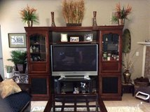 Entertainment Center Cabinet (Only) ALL WOOD (Dark Brown/Cherry) in Eglin AFB, Florida