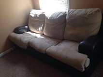 Brown and Tan Leather/Microfiber Couch with hideaway bed in Columbia, South Carolina