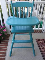Restored, Antique Wooden High Chair (Turquoise) in Camp Lejeune, North Carolina