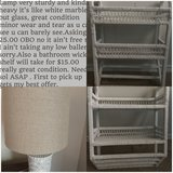 Marble white lamp beautiful hard to find shade whicker shelf in Lackland AFB, Texas