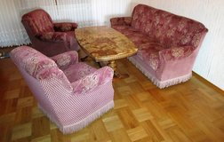 Antique Red Couch with 2 Chairs and Marble Top Table in Ramstein, Germany