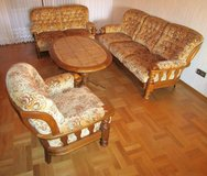 Solid Oak Frame 3 Seater, 2 Seater ,Chair and Tile Top Table in Ramstein, Germany