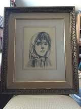 """A Young Girl"" vintage framed portrait, artist signed. in Camp Lejeune, North Carolina"