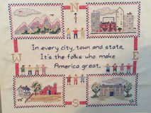 Vintage 1940s America Cross Stitch, Framed in Camp Lejeune, North Carolina