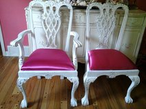 Shabby chic chippendale chair with pink fushia fabric in Plainfield, Illinois