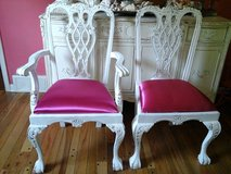 Shabby chic chair with fushia pink fabric in Westmont, Illinois