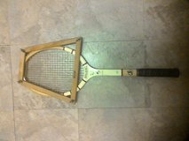 """Vintage """" Pancho Gonzales"""" wooden Spalding tennis racket from the 1960s in Conroe, Texas"""