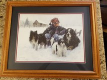 Boy in snow with his three dogs - Robert Duncan Print - Custom double matted wood frame in Cadiz, Kentucky