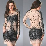 Sheer Illusion Long Sleeve Handmade Cocktail Dress with Sparkly Beading in Fort Meade, Maryland