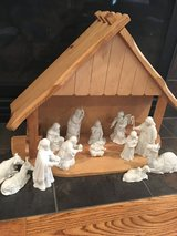 13 piece Avon collectibles Nativity set & stable in Bartlett, Illinois