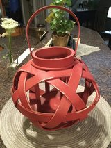 Distressed Red Wood Candle Lantern in Shorewood, Illinois