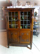 antique display cabinet with stained glass in Ramstein, Germany