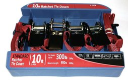 10' Ratchet Tie Down 4 pk Set (Red) 900 lbs Capacity - NEW! in Aurora, Illinois