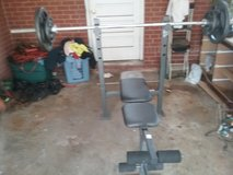 45 olympic bar and 230lbs weights  bench not included in Fort Benning, Georgia