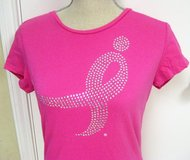 NWOT BREAST CANCER Susan G Komen Small Bling Pink Women's T-Shirt Pink Fitted in Kingwood, Texas