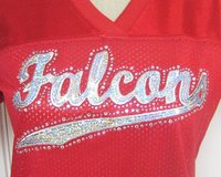 NWOT Red Atlanta Falcons Huffman Women's Lg Fitted Jersey Bling Sequins NFL Football in Kingwood, Texas