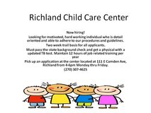 Daycare workers wanted in Fort Leonard Wood, Missouri