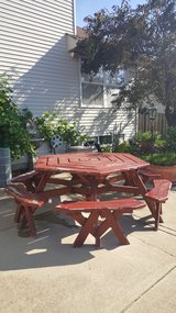 Octagon picnic table sits 12 in Naperville, Illinois