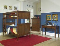 NEW TWIN BUNK BED SET WITH TALL CHEST AND STUDY DESK ALL FOR in San Bernardino, California