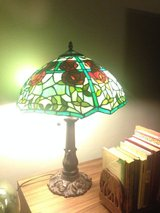 Tiffany style lamp, red rose with teal and green in Ansbach, Germany