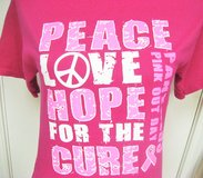 Small Pink Ribbon Breast Cancer Carolina PANTHERS Fitted T-Shirt Peace Love Hope Short Sleeve Tee in Houston, Texas