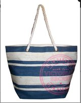 NWT Victoria's Secret LARGE Blue White Beach Tote VS in Paradise Rope Handles in Kingwood, Texas