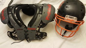 Riddell Recon Football Shoulder Pads and Schutt Helmet in Travis AFB, California